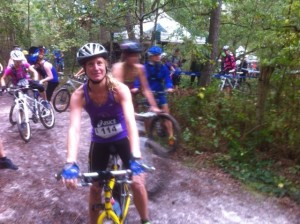 International Triathlon de Larchant 2014, soaked and ready for a ride in the mud!