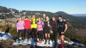 Team CimAlp exploring the course of the Pilat Trail race (January 2016)