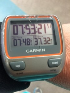 A broken Garmin watch after my fall! At least it was still working (37 miles completed!)